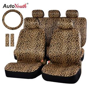 """nterior Accesorios Automóviles Cubiertas AUTOYOUTH asiento de lujo del leopardo de impresión cubierta del coche Universal Fit Cinturón de seguridad de ratón, y 15 \"""" Universal St ..."""