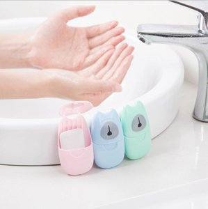 saponi 50pics / scatola Gran vendita portatile di viaggio del sapone di carta usa e getta di lavaggio a mano Fiocchi esterna sapone pulito sterilizzazione saponi profumati