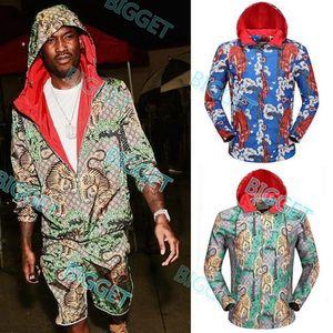 Leggero nylon con cappuccio Giacca a vento Panther Tiger Man vendita calda Cappuccio Full Zip Nylon Wear Top