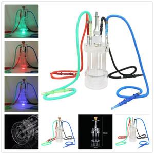 Cilindro Hookah Shisha Bong Tubería de fumar Set de acrílico con lámpara LED Cool Ceramic Bowl Árabe Tallo Herramientas de aceite Silicone 4 Manguera Columna de agua