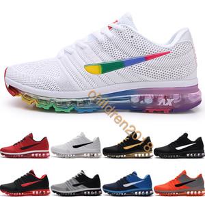 Top Air Cushion 2017 Zapatos para correr para hombres 2019 Diseñador Drop Plastic KPU Sneakers Rainbow White Black Hombres Zapatillas Tamaño 40-47