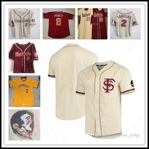 Пользовательский штат Флорида семинолов Колледж бейсбол 8 Buster Поузи 2 Deion Sanders 10 Дик Хаузер 22 Дрю Мендосы 43 Дрю Пэрриш вшита трикотажные изделия