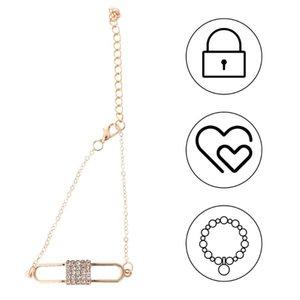 Love Lock Разработанный браслет Rhinestone браслет Элегантный наручные цепи наручные украшения Золотой