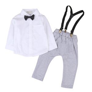 Mode Neugeborenen Kleinkind Kinder Jungen Tops Langarm Overalls Shirt + Trägerhose Gentleman Anzüge Hosen Outfits Kleidung Set