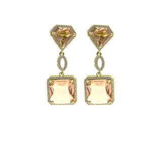 Diamond Square Pendant Earrings For Women Bling Cubic Zirconia Mens Hiphop Earings Brand Designer Women Fashion Wedding Jewelry