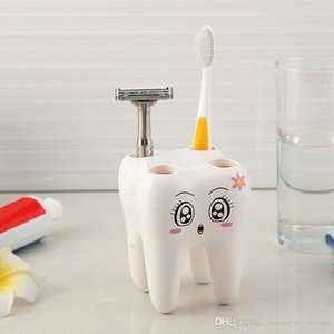 Toothbrush Holder Teeth Style 4 Hole Stand Tooth Brush Shelf Bathroom Accessories Sets Bracket Container cny1217
