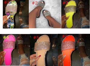 Summer Women Crystal Slippers Glitter Flat Soft Bling Female Candy Color Flip Flops Indoor Ladies Slides Hot Beach Shoes D62202