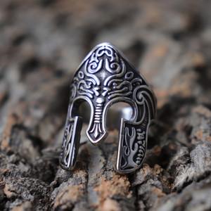 Homme Anneau Guerrier Casque Viking Rune scandinave Pagan Norse anneaux en acier inoxydable Totem Bijoux Amulet