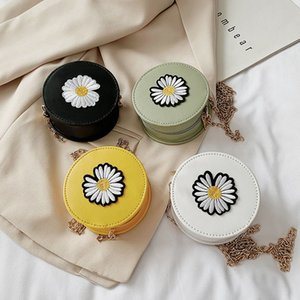 Moda Bayan Daisy Çiçek Dekor Omuz Messenger 2020 Casual PU Deri Kadınlar Yuvarlak Zinciri Crossbody Çanta Paketleri