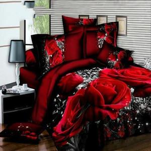 فاخر 3d-أحمر الوردة-جاكار زينة الزفاف 4pcs الأسرة Set الملك حجم غطاء Sets bedspread clothes