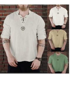 4 colori Mens magliette Cotone Lino Moda manica lunga ricamata stand colletto della camicia maglietta breve estate manica vestiti casuali S-4XL