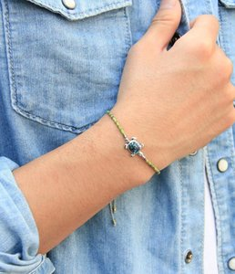 KELITCH New Miyuki Strand Charm Armband-handgemachte Adjustble Charm Sea Turtle-Anhänger Statement-Armband-Armbänder Schmuck Unisex