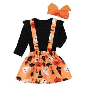 Sıcak Satış Yeni Bebek Çocuk Kız Halloween tişört Patenci Etek Kafa 3PCS Kıyafetler Sonbahar Casual Giyim Setleri Tops