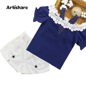 Artishare Summer Clothes For Girls Lace Shirt + Shorts 2PCS Girls Sets Clothing Teenage Kids Clothing 6 8 10 12 14 Year Y200325