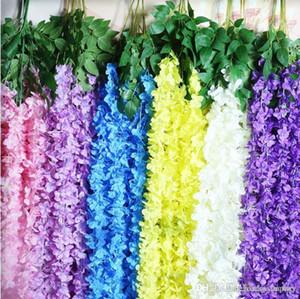2018 High-end Encryption Hydrangea Flower Vine Three Forks Wisteria Rattan Fiori decorativi Wall Hanging Craft Ornament