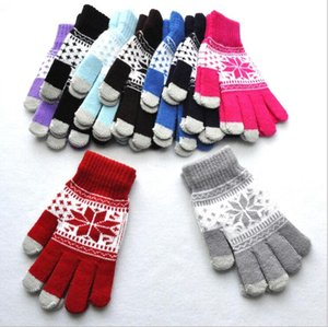 Gloves Snowflake Touch Screen Glove Christmas Winter Knitted Mittens Girls Active Smart Phone Knit Gloves Print Outdoor Finger Gloves C6466