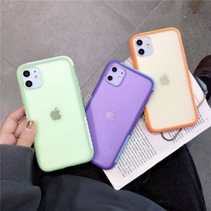 Hit color transparent Phone case For iPhone 11 Pro Max XR XS MAX 7 8 Plus Galasexy S20 Plus S20 Skin Feel Shock Against Shock Shell Cover