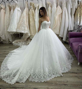 2020 Lace Up Back A Line Wedding Dress robe de mariee Sweetheart Neck White Lace Ball Gown Wedding Dressess Appliques Tulle Long Bridal Gown