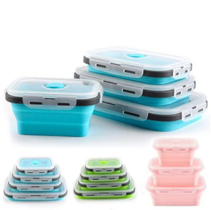 Silicone dobrável Lunch Box Food Storage Container Bento BPA Microwavable portátil Picnic Camping Retângulo Outdoor Box YP398