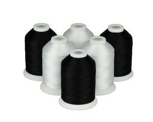 Simthread Polyester - Maschine oder 40WT 6 Black Thread White 120D / 2 1000m / Spool, Stickkolben / Kit UPMPF