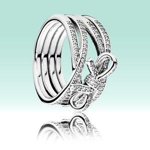فاخر مصمم 925 فضة خواتم الزفاف المحدد لباندورا BOWKNOT النساء حلقة بنات هدية مجوهرات القوس RING مع مربع الشعار الأصلي