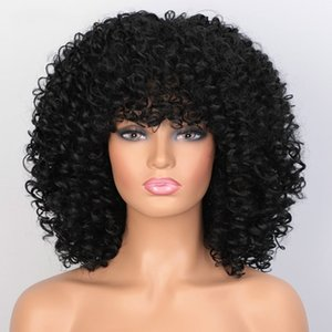 Kadınlar için Wondero Kısa Wige Afri Kinky Kıvırcık Peruk 8 Mevcut renkler Siyah Doğal Afro Yüksek Sentetik Sıcaklık Saç