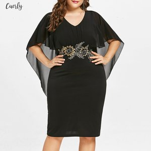 Polyester Fashions Women Plus Size 5Xl Embroidery Capelet Semi Sheer V Neck Party Dress Half Sleeves Sheath Dress Vestidos Big Designer