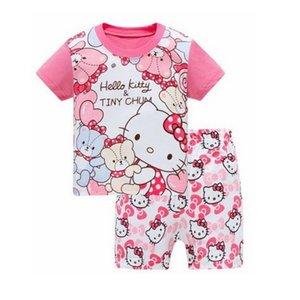 Sıcak satış Yaz Kızlar Pijama Takımları Kısa Kollu Çocuk Pijama Karakter Çocuk Pijama Erkek pijamalar alt Giyim YW10 ayarlar