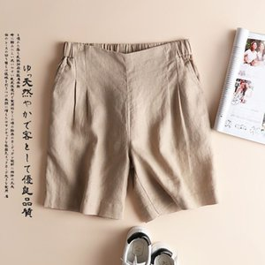 China Factory Wholesales Linen Shorts For Women Elastic Waist Summer Casual Shorts With Pockets Plus Size Cotton Linen Shorts M-3XL 75kgs