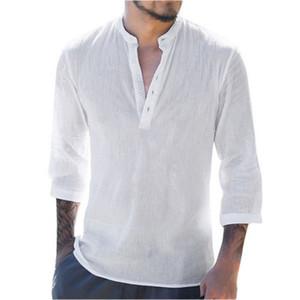 Trois manches Quarter col V en coton Linen Chemises de base Casual Shirt Tops mince Chemisier Chemise