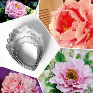 Alta qualidade coração da flor peônia 4 unidades / lote bolo de ferramentas de aço inoxidável Fondant Sugarcraft Cookie Cutter Bolo decoração ferramentas DIY Ferramentas