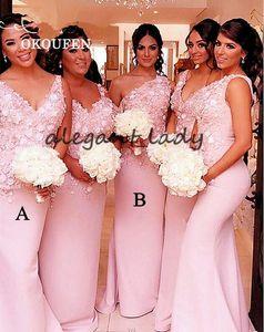 Шикарный розовый 3D цветочные платья подружки невесты 2019 длинное русалка кружева цветочные русалка летние каникулы свадебное платье для гостей свадьбы на пляже