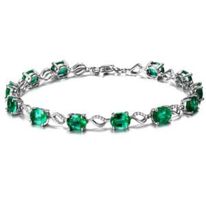 Joyería de la moda pulsera esmeralda de piedra para mujeres mujeres de lujo Esmeralda joyería de plata regalo de bodas BJJ52