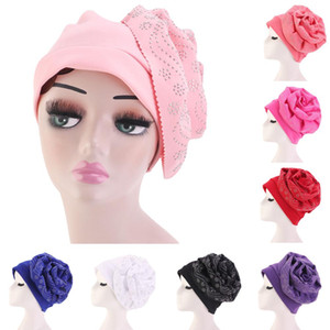 Потеря Женщины Мусульманский Bonnet Beanie Hat Тюрбан большой цветок платок Wrap Химиотерапия Cap Arab Hot Drilling исламская Аксессуары для волос New