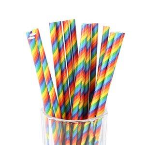 Desechable pajitas de beber raya del arco iris de papel Pajita para la boda fiesta de cumpleaños de niños Juegos de Disfraces