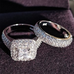 Moonso trendy Luxury 925 Sterling Silver Wedding Ring Set band for bridal girls and Women ladys love couple pair jewelry T200116
