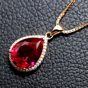 Ruby Drop Pendant Necklace Womens Sweet Matching Clothes Sterling Silver Inlaid Colored Gemstone Jewelry Pendant