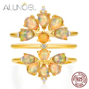 ALLNOEL Sólidos jóias de luxo 925 Sterling Silver Stacking Ring Set For Women Bridal Natural Opal Quartzo Rosa Turquesa Gemstone
