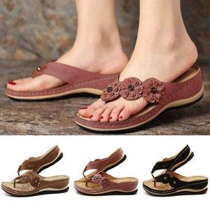 Summer Women Sandals Flower Wedge Ladies Open Toe Casual Shoes Platform Flip Flops Wedge Slides Beach Shoes Woman Sandalia