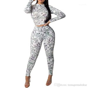 스키니 두 조각 패션 여성 의류 달러 인쇄 2PCS 여자 운동복 긴 소매 O 목 긴 바지 여성을 설정