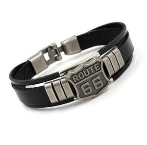Mens Fashion ROUTE 66 Rivet Braceletes Punk Retro multicamada pulseiras de couro para a declaração Homens Mulheres Cuff Bangles Jóias Presentes