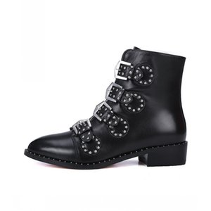 Winter New Fashion Women Motorcycle Biker Boots Buckle Strap Pointed Toe Punk Style Ankle Boots Genuine Leather Cow High Quality