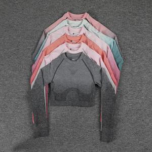 Yoga Sports Crop Top Long Sleeve Gym Women Seamless T-shirt Fitness Woman Sport T-shirt Workout Tops Women Sports Suit