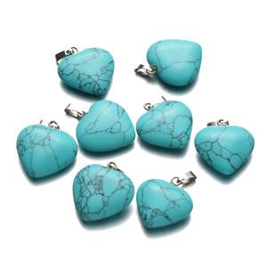 30PCS venden al por mayor los encantos de los corazones de la turquesa los colgantes del amor de Brown para el amante de la joyería DIY que hace los resultados de los accesorios