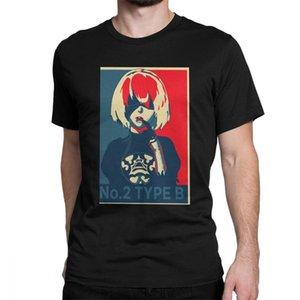 Nier Automata 2B Poster Men T Shirt Japan Anime Game Novelty Tee Shirt Short Sleeve T-Shirts Men Cotton Tees Streetwear