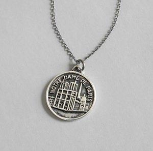 Collana Vintage Cattedrale di Notre Dame de Paris collana S925 Sterling Silver Notre Dame Moneta Tag collana Donna