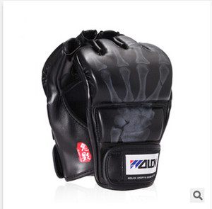 New Grappling MMA Gloves PU Punching Bag Boxing Gloves Black White W8861