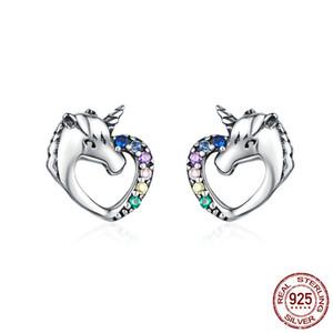 Venda Hot 100% real prata esterlina 925 colorido bonito Licorne Stud Brincos para Mulheres Meninas Fada animal de jóias em forma