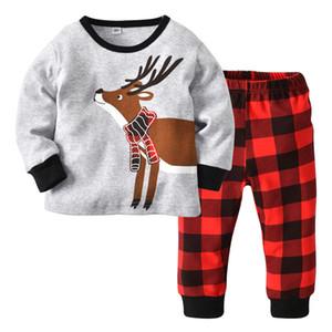 Christmas Children Pajamas Home Clothes Set Kids Deer Cotton Tops Tshirt + Plaid Pants Kids 2pcs Set Children Outfits 15227