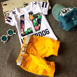 Yeni erkek giyim Kaktüs Baskı Iki Adet Set Yaz Çocuklar Numarası Çiçek Baskı T Shirt + Denim kısa Yumuşak Rahat çocuk giyim setleri